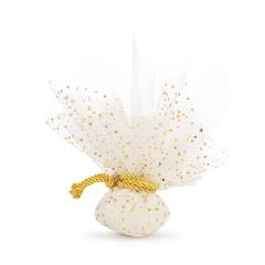 Μπομπονιέρα βάπτισης λευκό τούλι με αστράκια