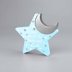 Ξύλινο σιέλ αστέρι με φεγγάρι ασημί