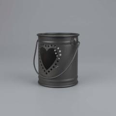 Μπομπονιέρα βάπτισης μεταλλικό βαζάκι μαύρο καρδιά