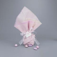 Μπομπονιέρες βάπτισης ροζ λινό με λευκή καρδιά