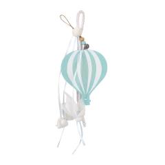 Μπομπονιέρα βάπτισης κρεμαστή με ξύλινο μιντ αερόστατο