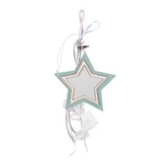 Μπομπονιέρα βάπτισης κρεμαστή με ξύλινο αστέρι μιντ