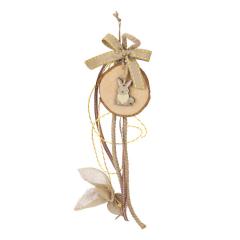 Μπομπονιέρα βάπτισης κρεμαστή με ξύλινo κουνελάκι