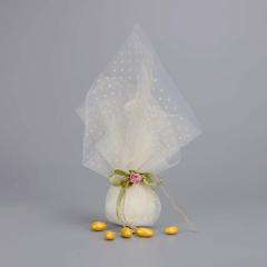Μπομπονιέρα γάμου τούλι πουά με χάρτινο λουλούδι