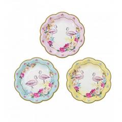 Χάρτινα πιάτα γλυκού με θέμα Flamingo Talking