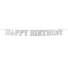 Γιρλάντα Happy Birthday 3m ασημή γκλίτερ