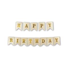 Γιρλάντα σημαιάκια Happy Birthday 3m χρυσό