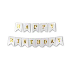 Γιρλάντα σημαιάκια Happy Birthday 3m ασημή