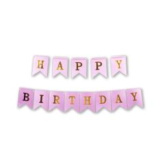 Γιρλάντα σημαιάκια Happy Birthday 3m ρόζ