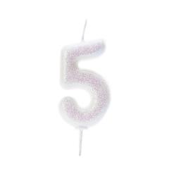 Λευκό κεράκι νούμερο 5 με ιριδίζων γκλίτερ