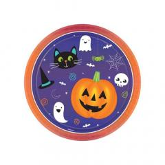 Χάρτινο πιάτο φαγητού Halloween Friends 23εκ8τεμ
