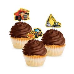 Χάρτινα toppers για cupcakes Construction 12τεμ
