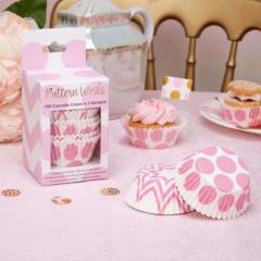 Θήκες cupcakes σεβρόν & πουά Ροζ 100τεμ