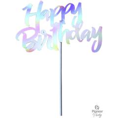 Διακοσμητικό Τούρτας Iridescent Happy Birthday