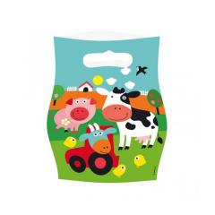 Τσάντες δώρου πλαστικές Ζωάκια φάρμας 8τεμ