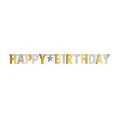 Γιρλάντα Γράμματα Happy Birthday Χρυσό και Ασημί