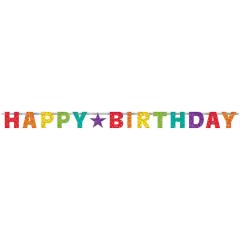 Γιρλάντα Γράμματα Happy Birthday Rainbow