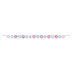 Γιρλάντα Happy 1st Birthday ροζ λαγουδάκι