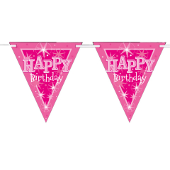 Γιρλάντα Σημαιάκια χάρτινη Birthday Pink Sparkle