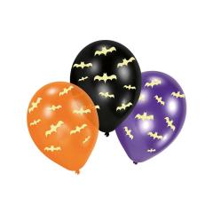 Μπαλόνια λατέξ με φοσφοριζέ νυχτερίδες 6τεμ