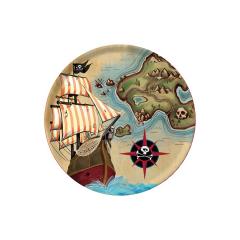 Χάρτινα πιάτα γλυκού Pirates Map 8τεμ
