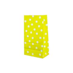 Χάρτινη σακούλα κίτρινο με λευκό πουά 5τεμ