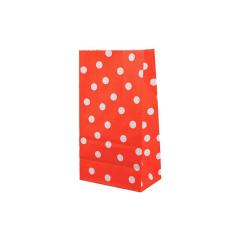 Χάρτινη σακούλα κόκκινη με λευκό πουά 5τεμ