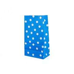 Χάρτινη σακούλα μπλε με λευκό πουά 5τεμ