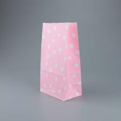 Χάρτινη σακούλα ροζ με λευκό πουά 5τεμ