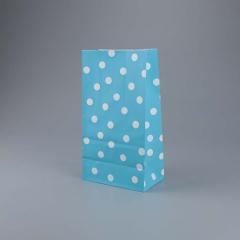 Χάρτινη σακούλα σιέλ με λευκό πουά 5τεμ