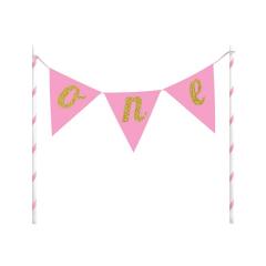Διακοσμητικό τούρτας πρώτα γενέθλια ONE ροζ
