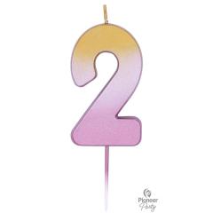 Κερί Νούμερο 2 Ροζ Χρυσό Ombre