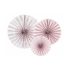 Χάρτινη κρεμαστή ροζέτα ροζ παστέλ 3τμχ