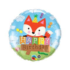 Μπαλόνι Foil Happy Birthday αλεπού 45εκ