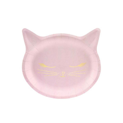 Χάρτινα πιάτα ροζ γάτα 20x20εκ 6τεμ