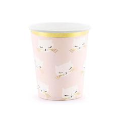 Χάρτινα ποτήρια ροζ με γατούλα 220ml 6τεμ