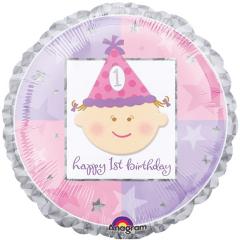 Μπαλόνι Φοιλ Στρογγυλό Πρώτα Γενέθλια Ροζ