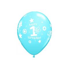 Μπαλόνι λάτεξ Πρώτα γενέθλια γαλάζιο 5τεμ