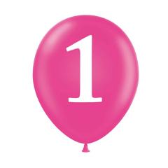 Λάτεξ μπαλόνια πρώτων γενεθλίων φούξια 6τεμ
