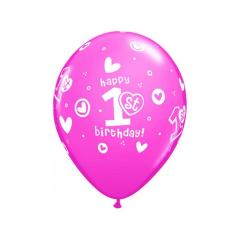 Μπαλόνι λάτεξ Πρώτα γενέθλια ροζ 5τεμ