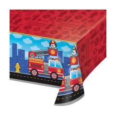 Πλαστικό τραπεζομάντηλο Flaming Fire Truck 137x260εκ