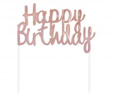 Διακοσμητικό τούρτας Happy Birthday ροζ χρυσό