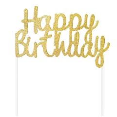 Διακοσμητικό τούρτας Happy Birthday χρυσό glitter