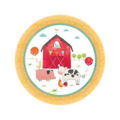 Πιάτα χάρτινα γλυκού Ζωάκια Φάρμας Barnyard Birthday / 8 τεμ