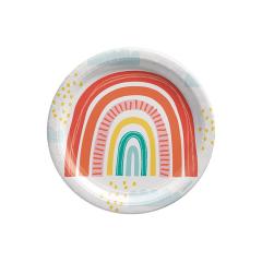 Πιάτα χάρτινα φαγητού Retro Rainbow 23εκ