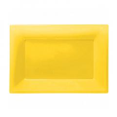 Πιατέλα πλαστική 23x32 εκ κίτρινη 3τμχ