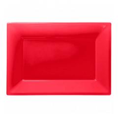 Πιατέλα πλαστική 23x32 εκ κόκκινη 3τμχ