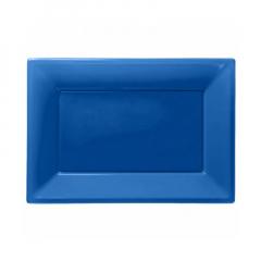 Πιατέλα πλαστική 23x32 εκ μπλε 3τμχ