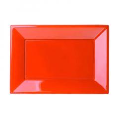 Πιατέλα πλαστική 23x32 εκ πορτοκαλί 2τμχ