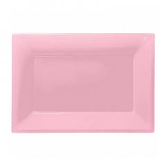 Πιατέλα πλαστική 23x32 εκ ροζ 3τμχ